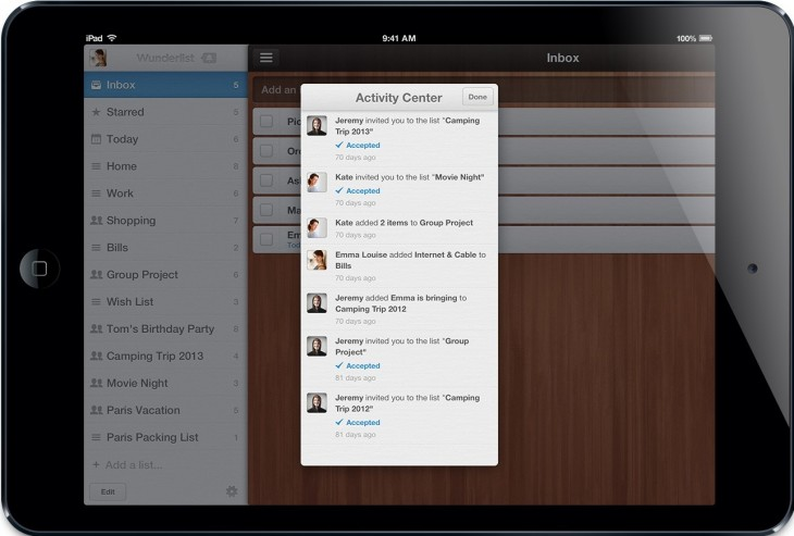 Wunderlist iPad Mini Activity Center1 730x493 With 3.5m registered users, Wunderlist takes its rebuilt, redesigned task management app to iPad