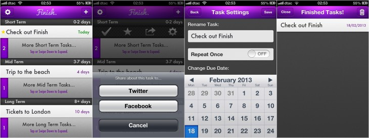 finish 3 730x273 Finish is a straightforward and effective iOS app for managing tasks with deadlines