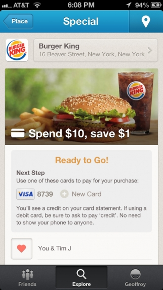 four square special burger king Foursquare partners with Visa and Mastercard to expand its check in deals program