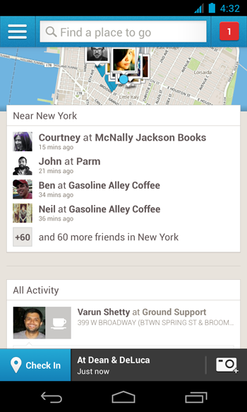 no phone initial copy1 1 Foursquare updates its Android app to emphasize discovery, adds improved search and navigation