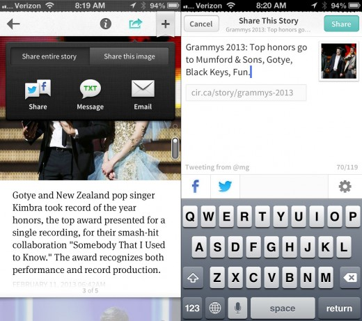 share1 520x461 Circa overhauls its iOS app with a new sharing interface and technology news section