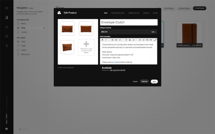 squarespace2 730x456 Squarespace adds commerce tools to its website builder, allowing users to manage and sell goods online