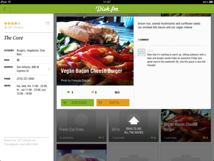 Nd0m6225JogVJ GuEhcHxkRDiDoQ6HJOFyR6FsQ5SzU 730x547 Restaurant discovery service Dish.fm launches a mouthwatering iPad app for browsing nearby meals