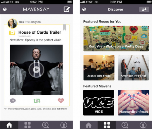 Screen Shot 2013 03 05 at 10.30.26 AM 520x441 MavenSay, an app for music, food and fashion tastemakers, gets new feed and improved discovery