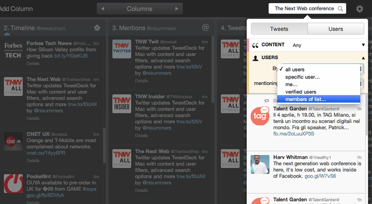 Tweetdeck2 Twitter updates TweetDeck for Mac with content and user filters, advanced search options and more