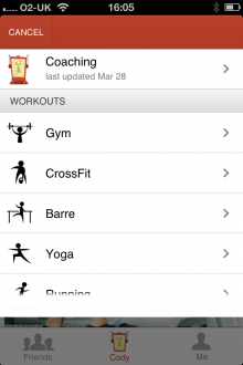 e7 220x330 Cody for iPhone is a cross activity exercise journal that lets you record and share workouts with friends