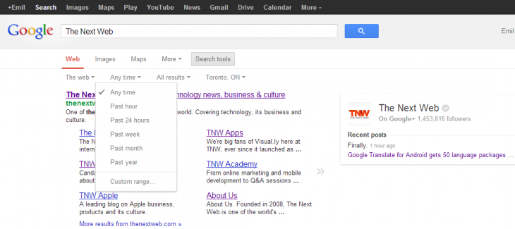 google tnw 730x325 Microsoft updates Bing to let you sort your search results by time period: Past 24 hours, week, or month