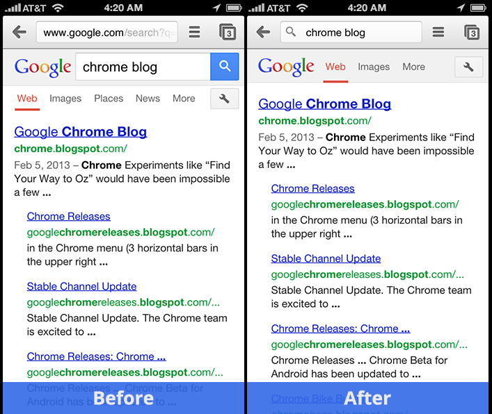 iphone beforeafter large Chrome 25 for iOS gets back button history, link sharing via Messages, and even easier Google searching