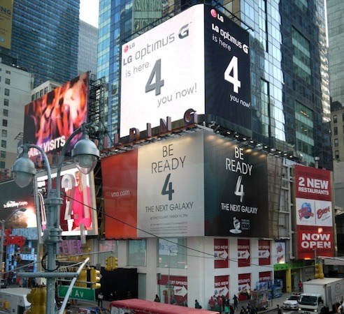 lg samsung ny As Samsung launches the Galaxy S4, rivals jostle to shoot down the worlds top phone maker