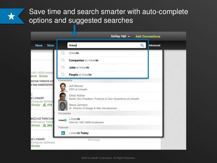 linkedin1 730x547 LinkedIn updates its search tools with suggested queries, automated alerts, unified results and more