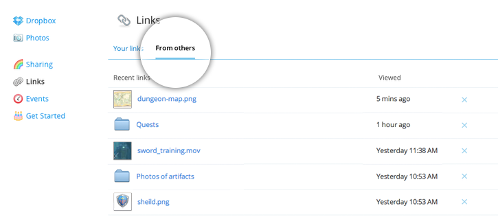 links from others screenshot Dropbox adds from others tab to track all of the shared links youve clicked on
