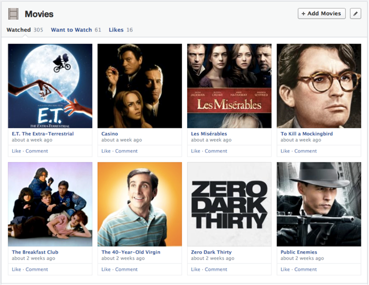 movies cropped Facebook begins rolling out new one column Timeline with increased emphasis on interests