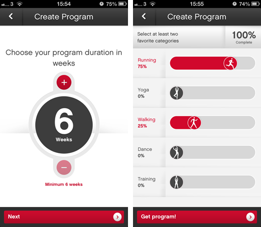 reebokscreens1 Reebok Fitness arrives on iOS and Android with customizable workout programs, pro tips and more