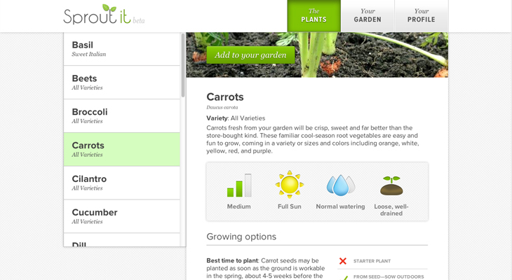 sproutit Sprout it teaches you how to grow your own vegetables with harvesting schedules, tasks and reminders