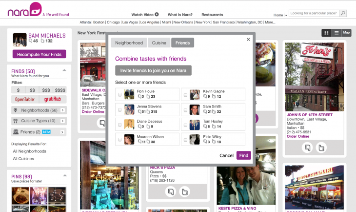 NARA SOCIAL 2 730x434 Nara adds a social layer to calculate group preferences with its restaurant recommendation engine
