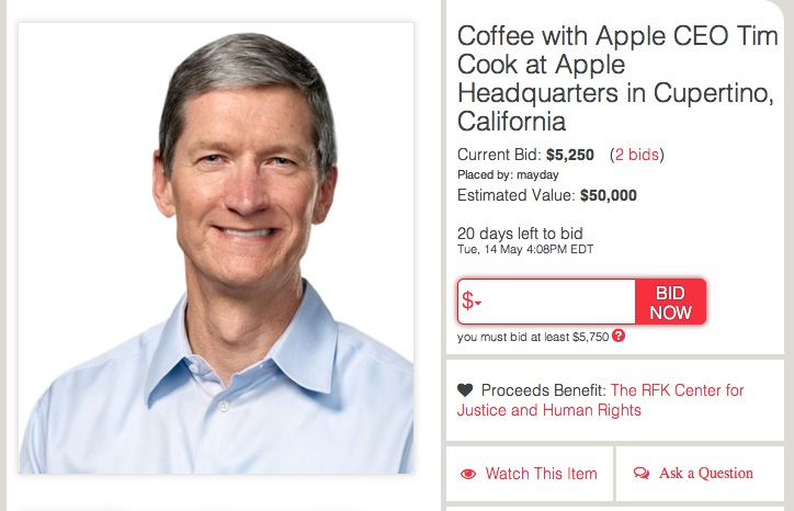 Screen Shot 2013 04 24 at 10.43.05 AM Tim Cook is auctioning off a coffee and chat with him at Apple HQ for charity, estimated value is $50k