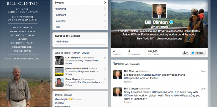 Snap 2013 04 24 at 21.05.07 730x359 Former US President Bill Clinton officially joins Twitter
