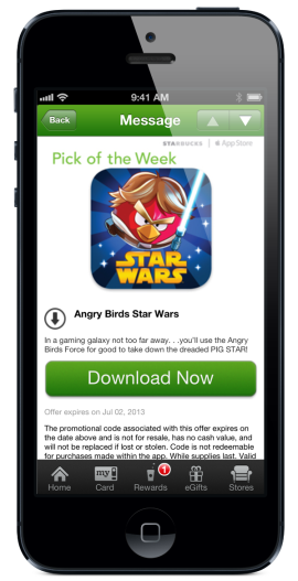 Starbucks Pick of the Week 270x527 Goodbye, printed cards: Starbucks now offers free 'Pick of the Week' apps and books from its iOS app