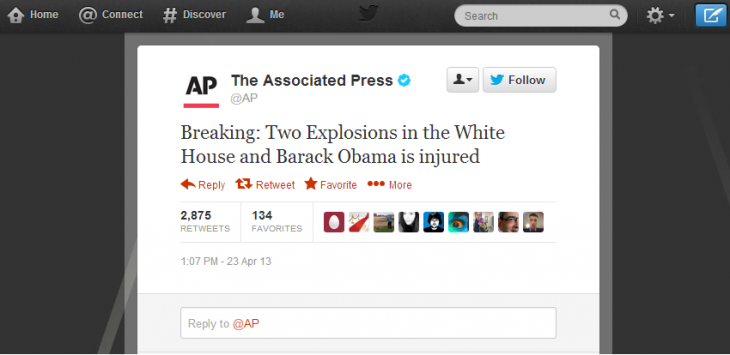 ap obama 730x355 Hacked AP Twitter account suspended after fake tweet of Obama hurt in White House explosions