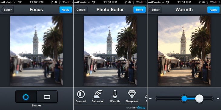 aviary filters 730x364 Aviary's Photo Editor v2.0 hits the Apple App Store with new tools, faster blurring, saving, more