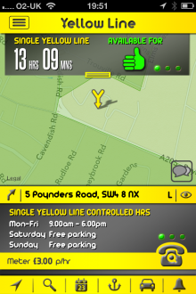 c10 220x330 Yellow Line for iOS gives London drivers local parking information and records where they left their car