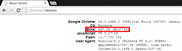 chrome canary blink 730x205 Its here: Google replaces WebKit version ID with Blink in latest Chrome build