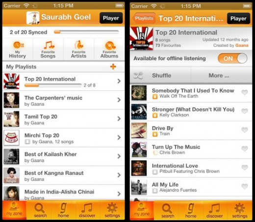 gaana2 520x452 Gaana, an Indian Spotify wannabe, gets a premium service as it hits 5m users (1m on mobile)