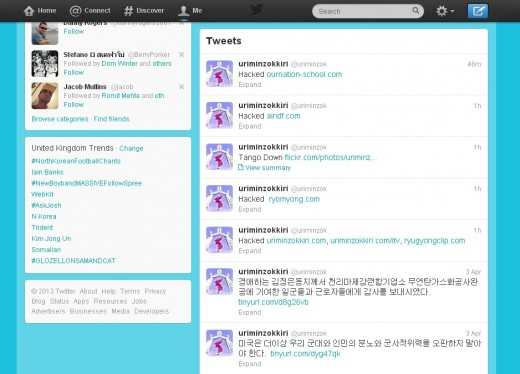 northkoreatweethack 520x374 Anonymous takes control of North Koreas Twitter and Flickr accounts, defaces websites