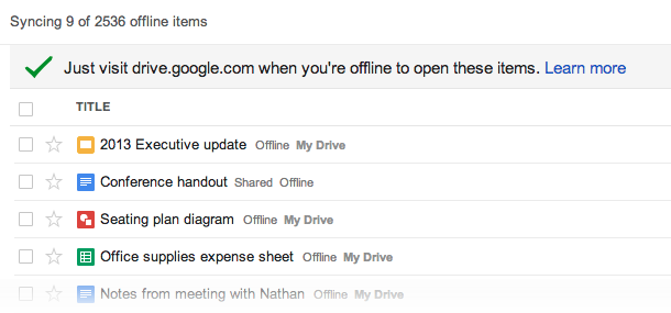 offline screenshot Google Drive can now automatically sync all your Docs, Sheets, and Slides so you can access any file offline