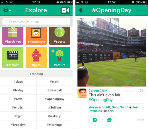 vinescreens Vine adds trending hashtag section to track hot and rising topics on the video sharing service