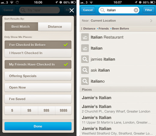 4sq1 Foursquare adds location filters to its iOS and Android apps, lets users instantly find the best place to check in