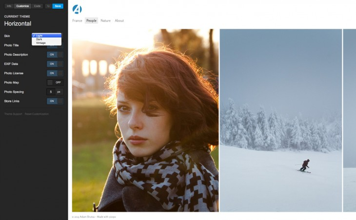500px Portfolios Editor 2 730x451 Now serving over 1B page views per month, 500px launches completely redesigned professional photo portfolios