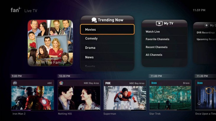 Fan TV Trending Movies 730x410 Fanhattan unveils Fan TV, a tiny set top box with live broadcasting, DVR and on demand streaming