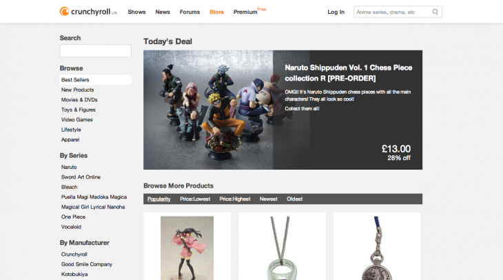 Screen Shot 2013 05 21 at 17.08.31 730x406 Crunchyroll launches e commerce platform to offer viewers merchandise alongside their favorite anime