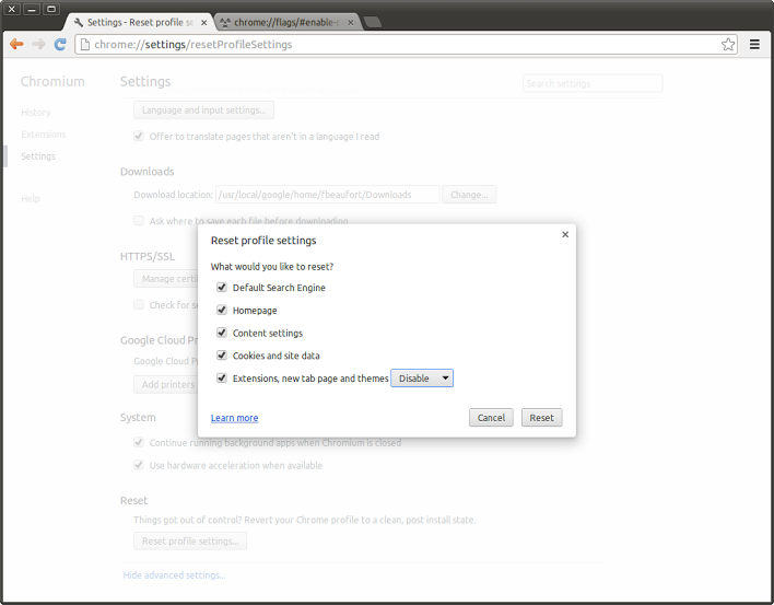 Screenshot from 2013 05 24 15 49 11 Google adds Reset profile settings feature to Chromium, allows users to fix issues and clean up after malware