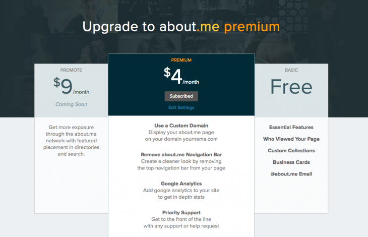 about me Premium Upgrade Page 730x470 About.me goes premium and finally lets you use your own domain name for $4 a month