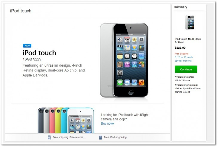 ipod 730x492 Apple begins selling 16GB iPod touch for $229, features 4 inch Retina display, no rear camera