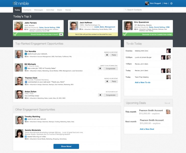 nimble today 730x599 Nimbles CRM platform gets more social with Linkedin like Today feature, filtering and more apps