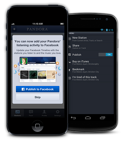 pandora publish to facebook Pandora's new Facebook Timeline app lets users find new music and share what they're listening to