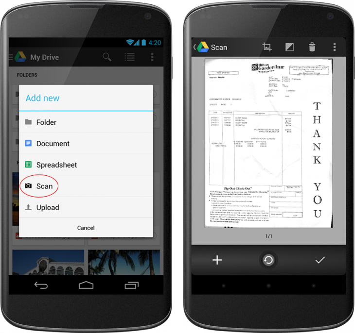 scan 730x686 Google Drive for Android gets new card style view, quick preview, OCR document scanning, file downloads, and more