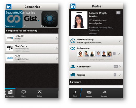 screen shot 2013 05 08 at 8 47 51 pm 520x415 LinkedIn for BlackBerry 10 gets new design and company pages, as Twitter brings Universal Search to its app