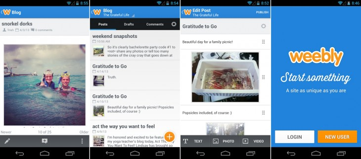 weebly 730x323 DIY Web builder Weebly launches an Android app, along with a mobile and HTML5 site creator