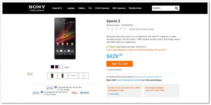 xperia z phone 730x365 Sony quietly begins selling the Xperia Z in the US for $629.99, initially 3G version only