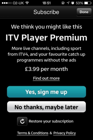 ITV Premium UK broadcaster ITV introduces £3.99 live TV streaming for iOS but viewers are not impressed