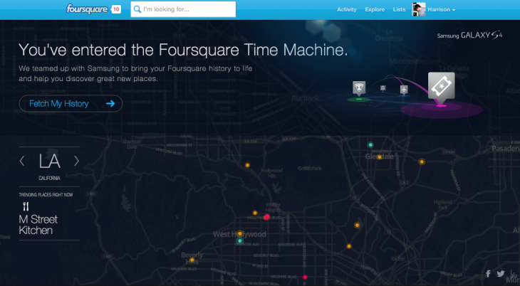 Screen Shot 2013 06 13 at 10.54.33 AM 730x402 Great Scott! Foursquares time machine visualizes your past check ins and predicts where youll go next