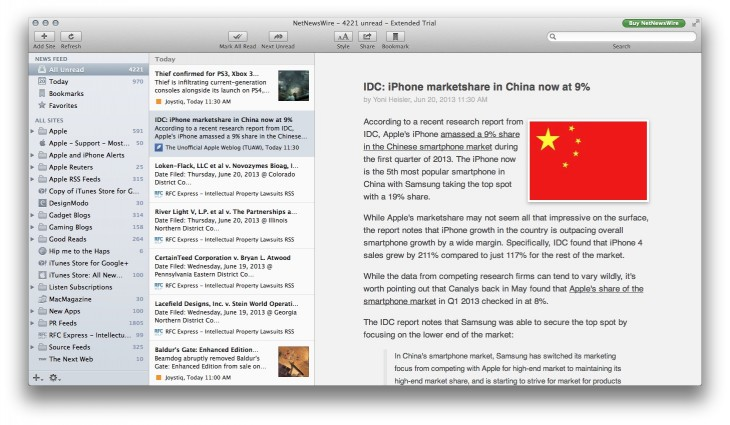 Screen Shot 2013 06 20 at 11.03.11 AM 730x425 Just in time for Google Readers demise, beloved RSS reader NetNewsWire launches open beta