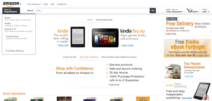 amazon kindle india 730x348 Amazon will sell its Kindle tablets and e readers online in India from June 27