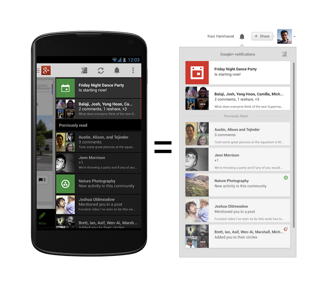 notifications a Google redesigns Google+ notifications with syncing, updates Android app with photo and sharing tweaks