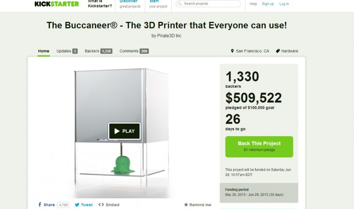 thebuc 730x431 Sub $400 3D printer, The Buccaneer, passes $500,000 on Kickstarter in just 4 days