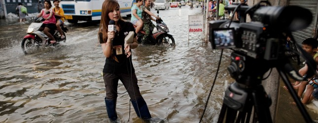 A television news reporter does a piece